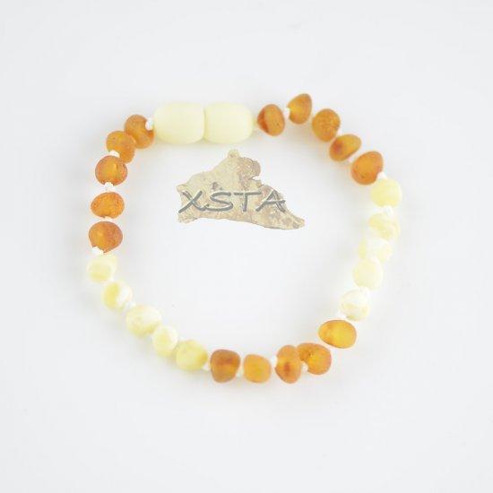 Raw white and cognac beads bracelet