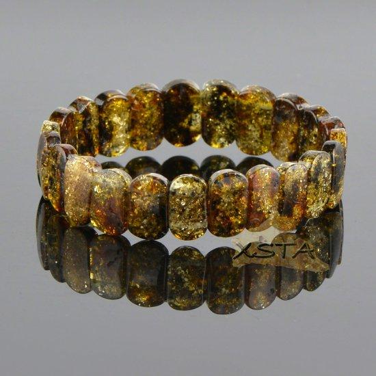 Classic shape medium green amber bracelet