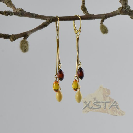 Amber earrings silver-gold metal style