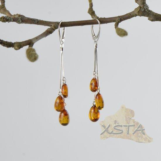 Baltic amber drop earrings cognac color