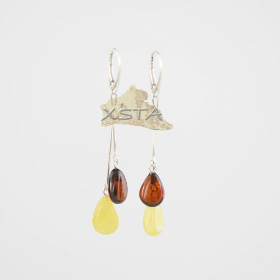 Cherry and white amber drop earrings