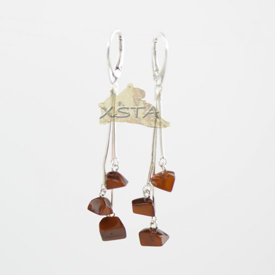Dark butterscotch irregular shape earrings