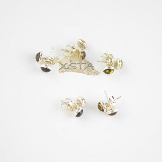 Green amber stud earrings