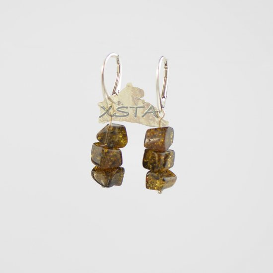 Irregular green amber earrings