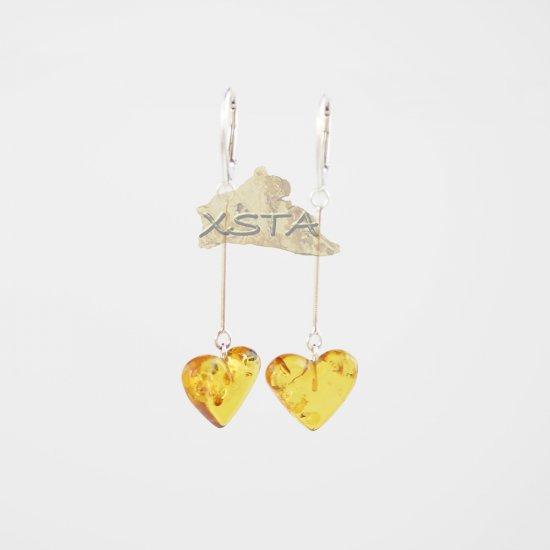 Light cognac heart earrings