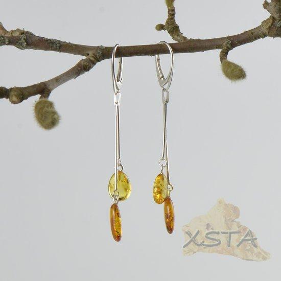 Natural amber long earrings