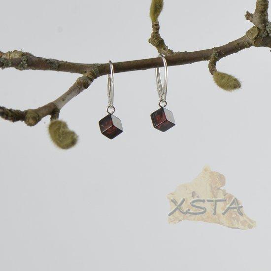 Baltic amber cube earrings