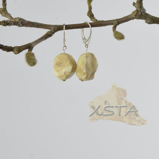 Raw Baltic amber earrings