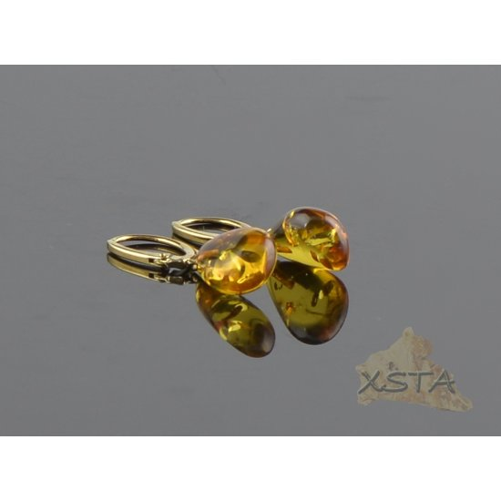 Amber earrings silver gold metal beads