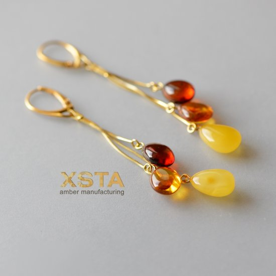 Amber multi drop earrings