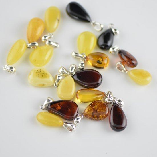 Baltic amber pendant multicolor beads
