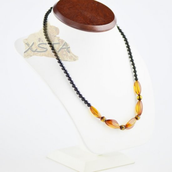 Amber natural necklace cognac color