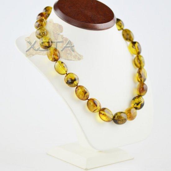 Amber necklaces polished olive green