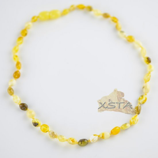 Baltic amber olive shape white bead necklace