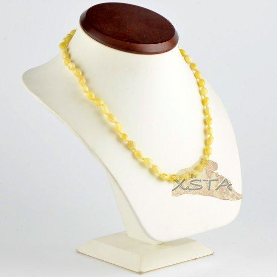 Olive polished amber necklace