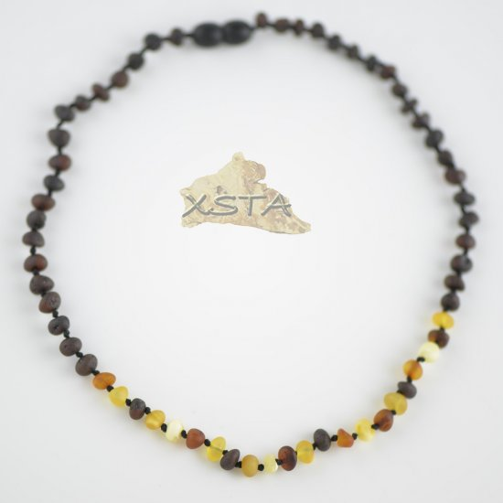 Raw baroque cherry necklace with multicolored beads