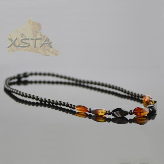 Amber natural necklace dark color