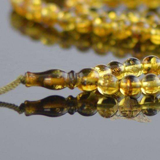 Light green round amber tesbih rosary
