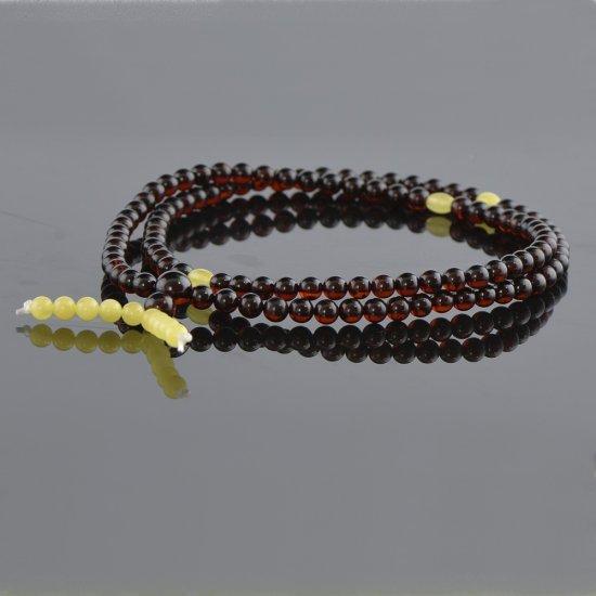 Amber cherry mala with white beads