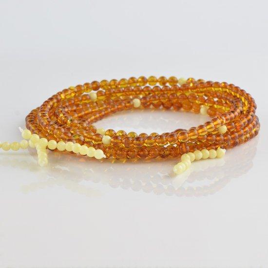 Cognac mala with white beads