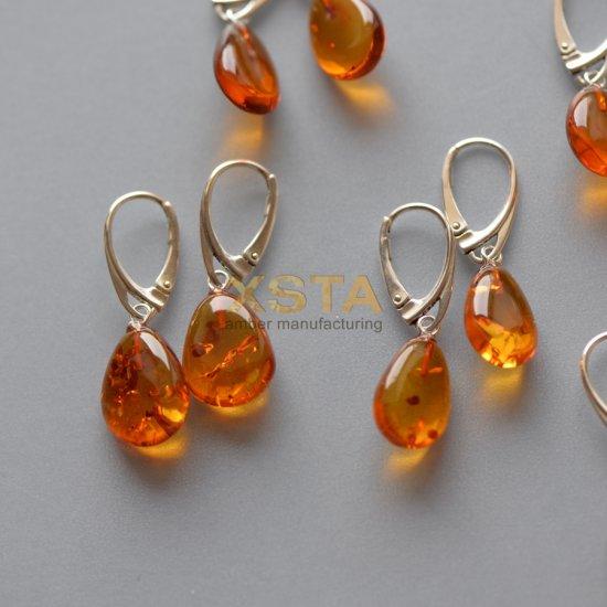 Cognac drop Baltic amber earrings