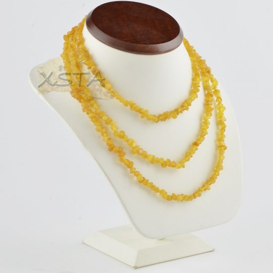 Amber necklace 130 cm with raw beads