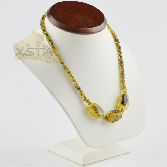 Amber necklace green color