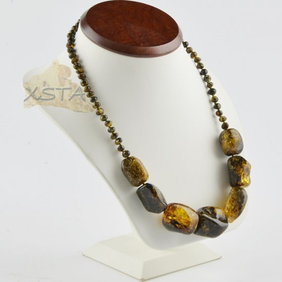 Amber necklace green color beads