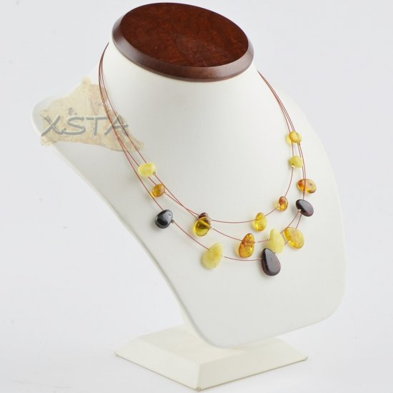 Amber necklace polished leaves on wire