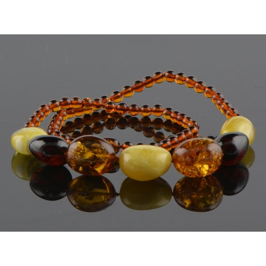 Amber necklace multicolor beads