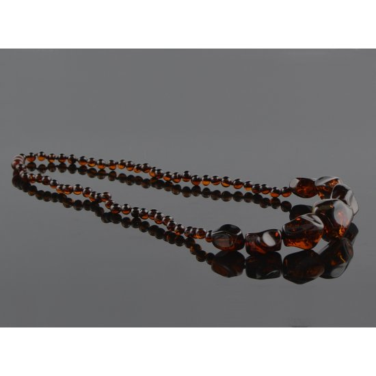 Amber necklace cherry color beads
