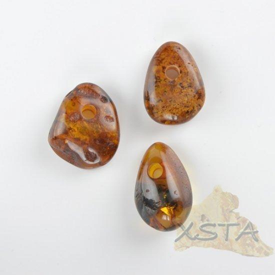3 units Amber natural medallions