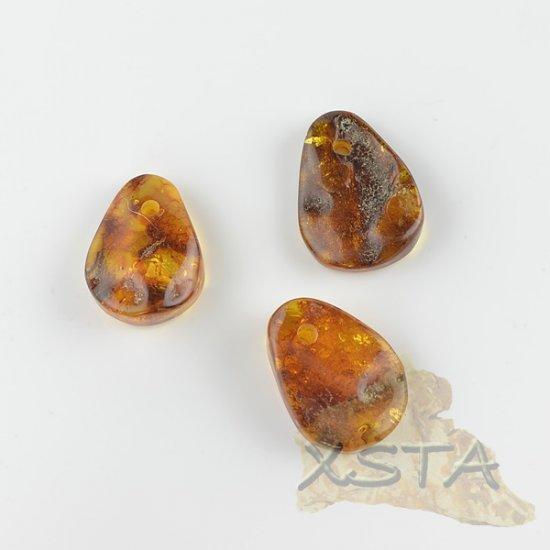 3 units Natural amber medallions