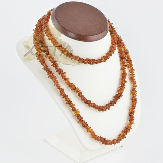 Amber chips necklace medium cognac polished