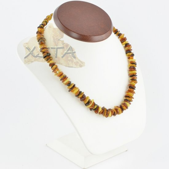 Amber chips necklace polished multicolour