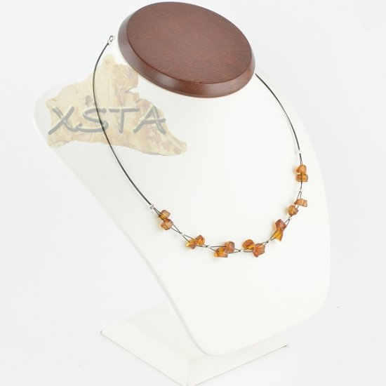 Amber cognac necklace irregular polished with wire