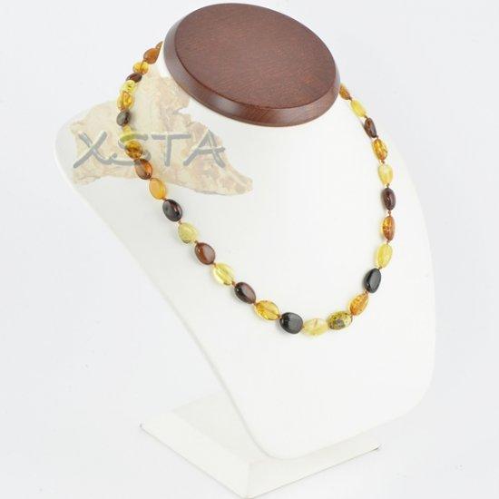 Amber multi necklace flat olive multicolour
