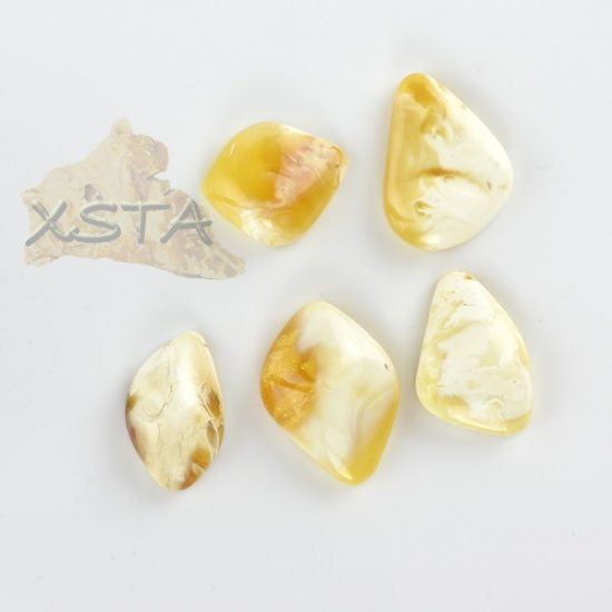 Amber natural cabochons 5 pieces
