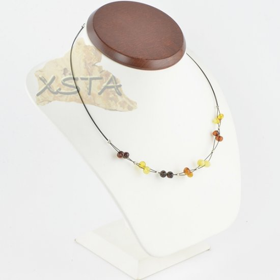 Amber natural necklace polished baroque with wire
