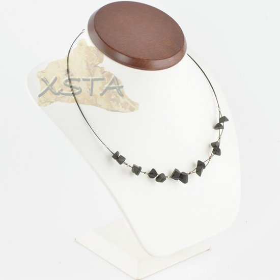 Amber necklace Black Raw