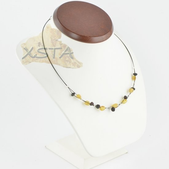 Amber necklace Olive Baroque