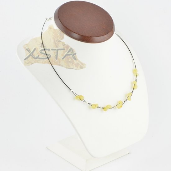 Amber necklace Raw Baroque Olive