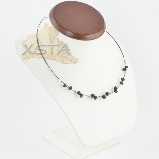 Amber necklace Raw Black