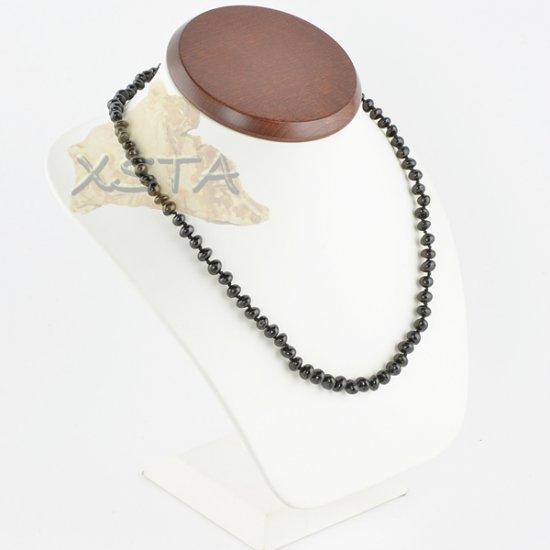 Amber necklace baroque black polished