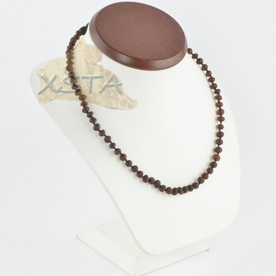 Amber necklace baroque dark cherry raw