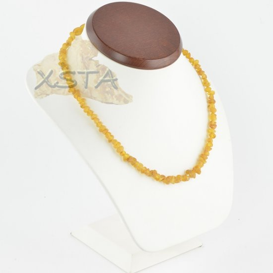 Amber necklace baroque light cognac