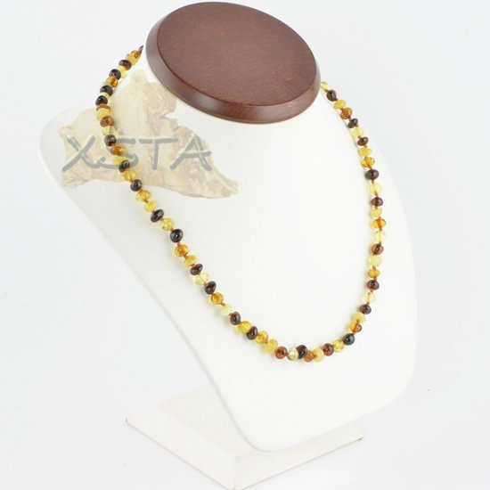 Amber necklace baroque multicolour