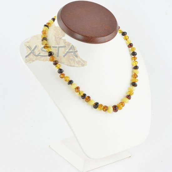 Amber necklace baroque multicolour polished