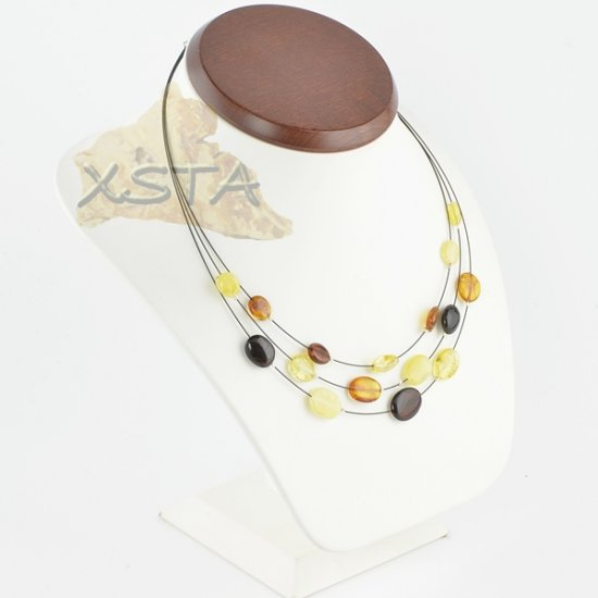 Amber necklace flat olive with wire