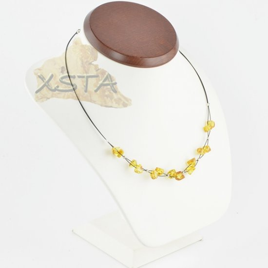 Amber necklace irregular lemon
